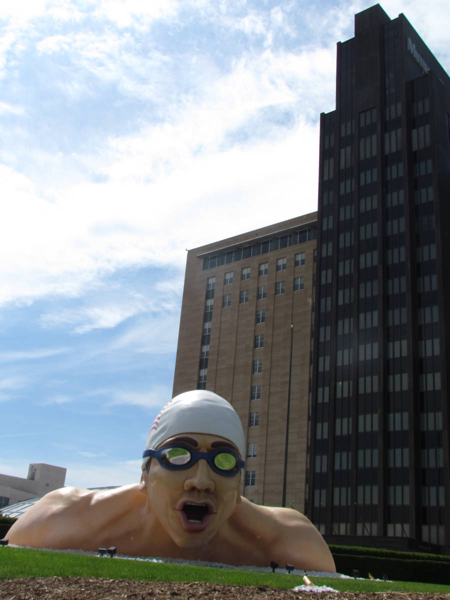 The sculpture used to publicize the US Swim Trials last summer, near Mutual of Omaha headquarters.