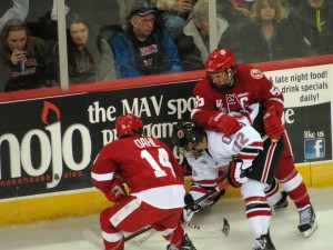 UNO was swept by Wisconsin in the last home series of the season. The Badgers won the WCHA tourney title.