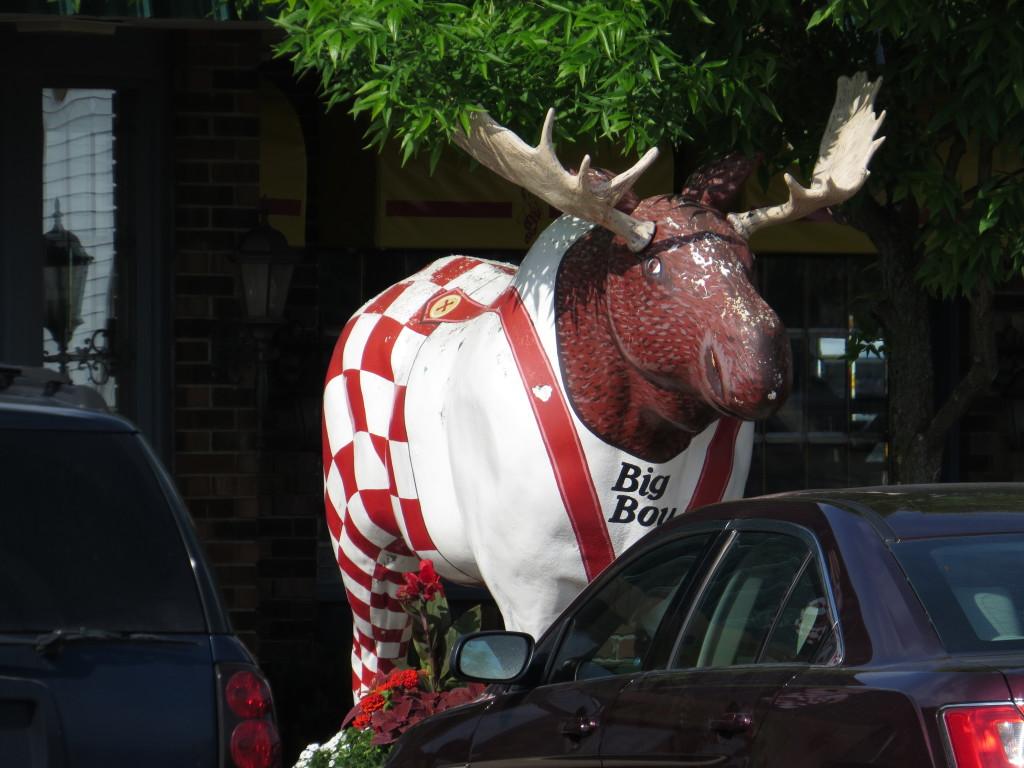 Moose dressed as Big Boy in Upper Michigan