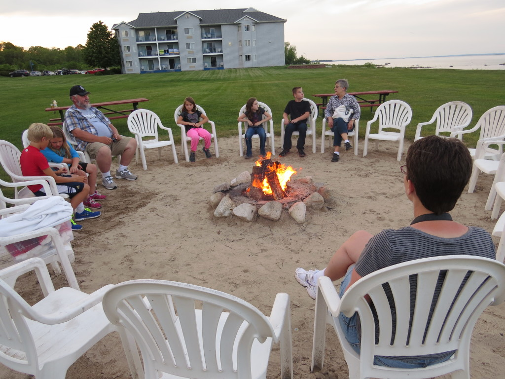 Campfire with smores in St. Ignace, Michigan