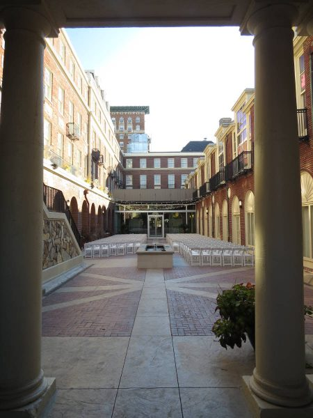 The courtyard at the Magnolia Hotel