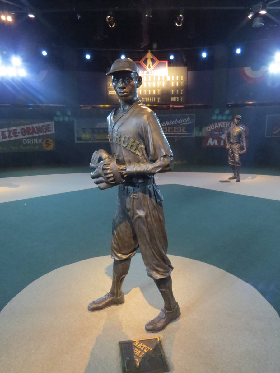 Satchel Paige statue at the Negro Leagues Museum in Kansas City.