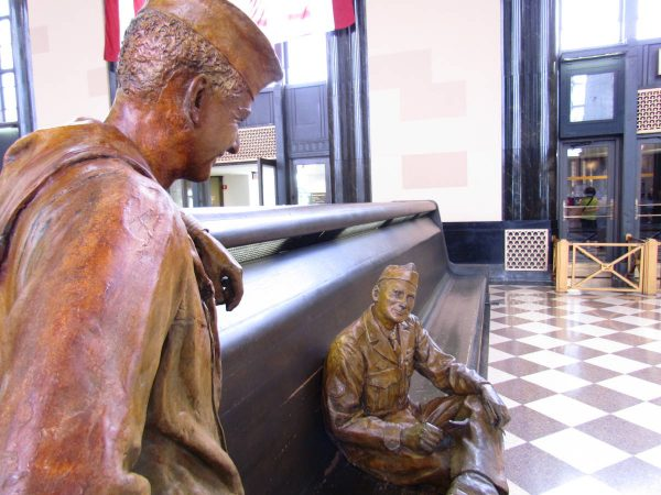Sculptures help depict Union Station's history at the Durham Museum.