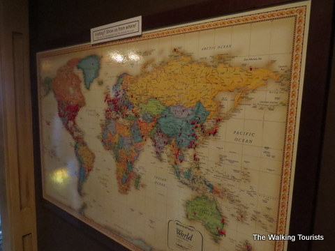 The pins on the map indicate the places customers have traveled from around the world to have dined at Gorat's.