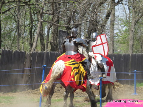 Knights joust during the Renaissance festival in Bellevue, NE.