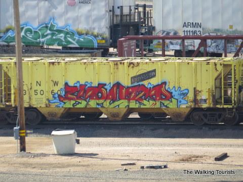 Graffiti train in Bailey railyard
