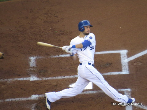 Kansas City Royals star Alex Gordon swings at a pitch.