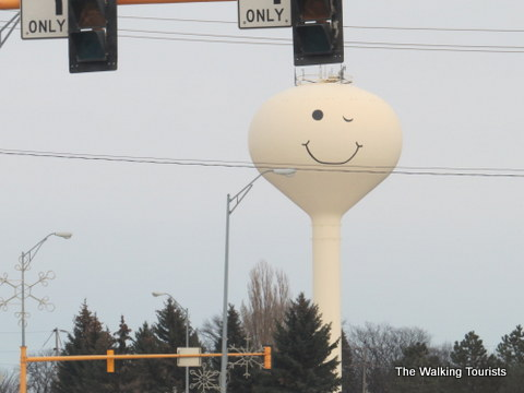 Grand Forks water tower. This side has a wink. The other side both eyes are open.