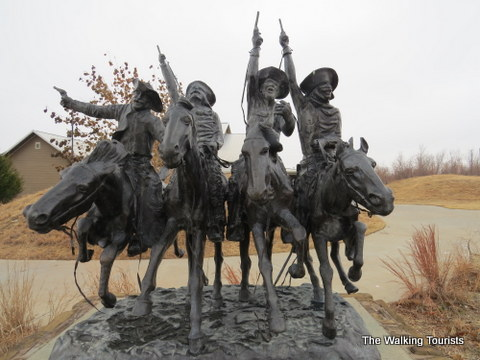 End of the Chisholm Trail marked at Old Cowtown Museum in Wichita, KS