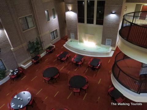 Breakfast area in the atrium area of the Courtyard Wichita
