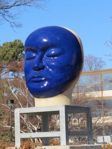 Kaneko piece outside of Sheldon Art Museum