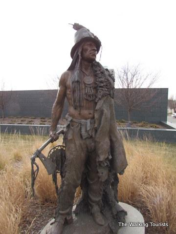 sculpture of Hidatsa tribe member at Joslyn Museum