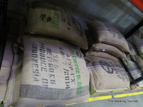 Bags of coffee beans at The Roasterie