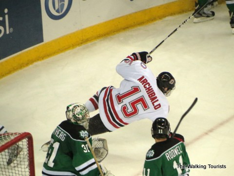 """Josh Archibald celebrates a goal in a previous season's game against North Dakota. Archie was one of three players, whose fathers I watched play at North Dakota. Jim Archibald was known as an """"enforcer"""" during his playing days with the Sioux. The other Mavs were Dominic Zombo (dad Rick) and Dayn Belfour (dad Eddie)."""