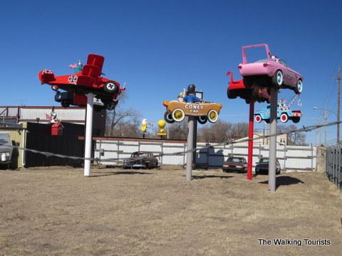 Cartoon Cars at Fred's Flying Circus
