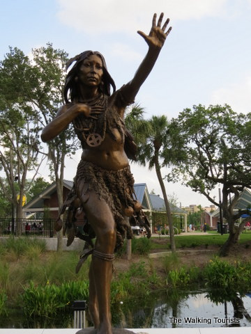 Ulele statue in front of the Ulele Restaurant during the day