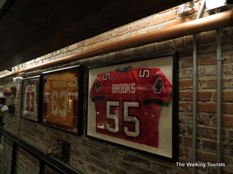 Sports memorabilia hanging at Ulele Restaurant