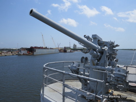 Gun turretts on the American Victory WWII ship in Tampa, Florida