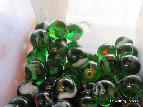 Green marbles at Moon Marble in Bonner Springs, Kansas