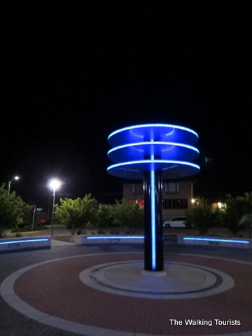 Three Stars Plaza lights up at night near Surf Ballroom in Clear Lake, IA
