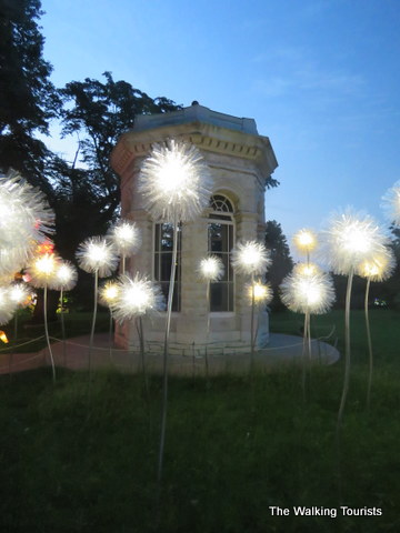 Dandelions made of recycled bottles at Missouri Botanical Gardens