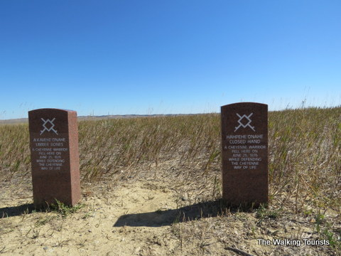 Headstones marking the spot where Native Americans died at Little Bighorn