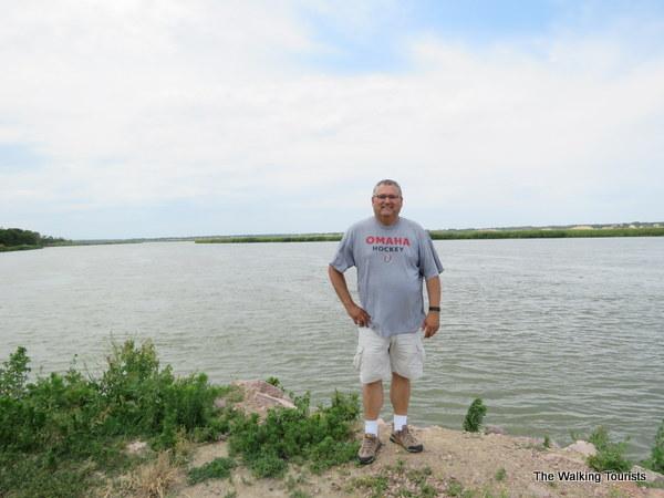 Tim standing near Missouri River
