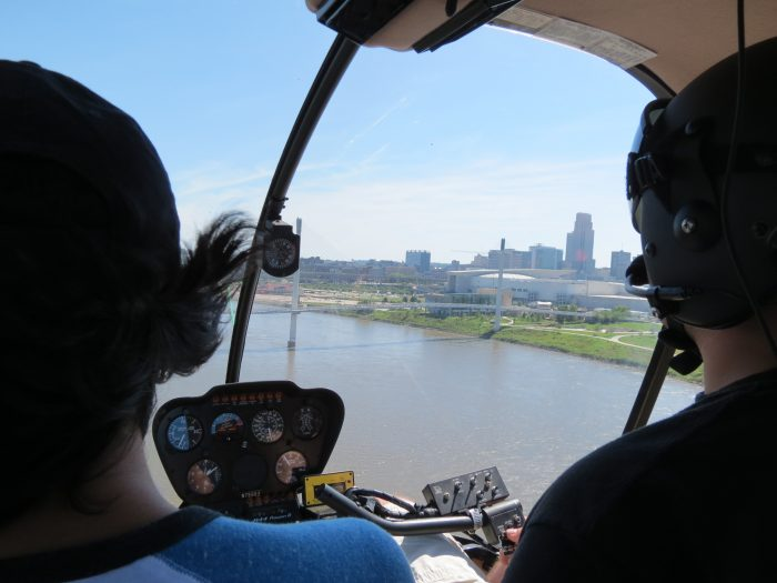 Catching views from outside the helicopter