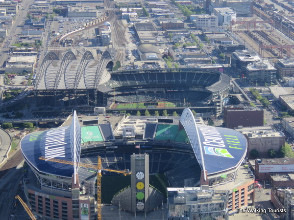 Views of Century Link Field and Safeco Field from Columbia Center