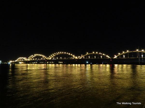 Lighted bridge in Davenport