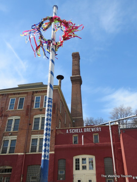 Maipole flag in front of Schell's Brewery in New Ulm, Minnesota