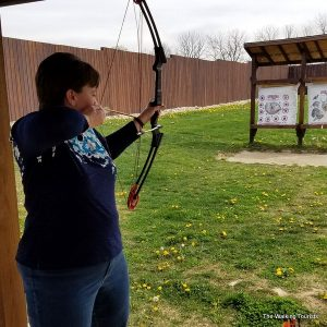 Aim for target at Koteewi Archery