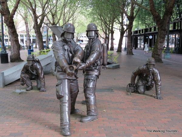 Firefighters memorial in Pioneer Square