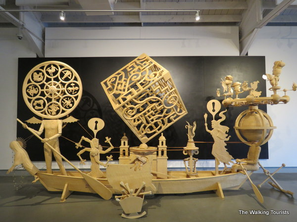Moving wooden art creations part of Kinetic at Kaneko in Omaha