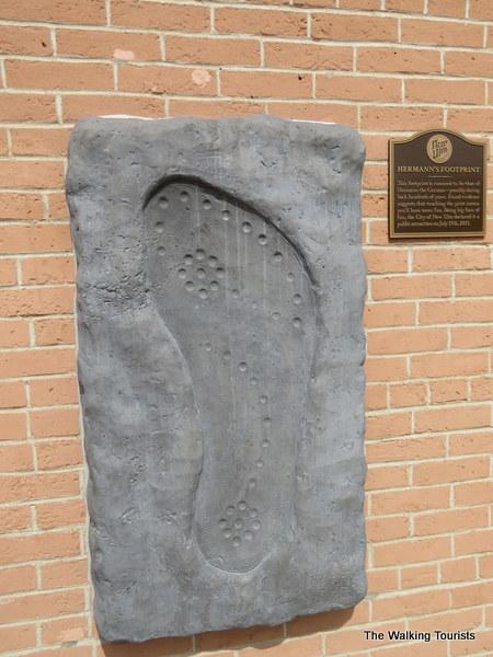 Hermann the German's footprint in downtown New Ulm, Minnesota
