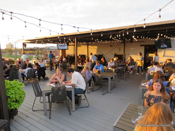 Rooftop dining at Hall's Pizza Kitchen in Midtown Plaza District of Oklahoma City