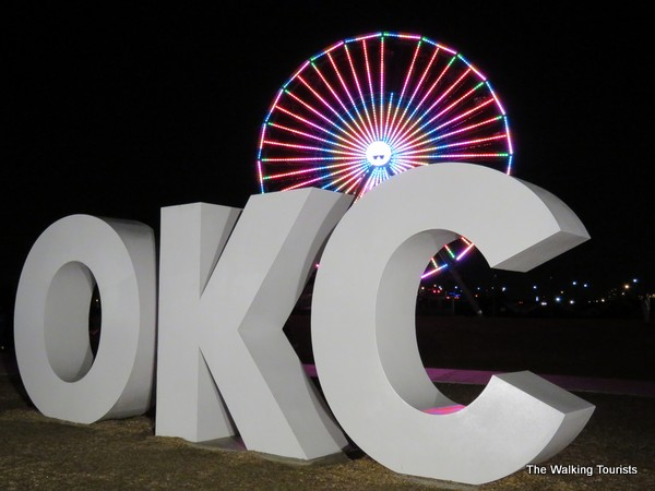 Wheeler Ferris Wheel and OKC sign in Wheeler District in Oklahoma City