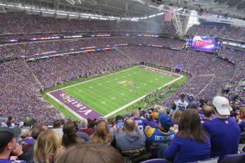 Enjoying a Minnesota Vikings game at US Bank Stadium
