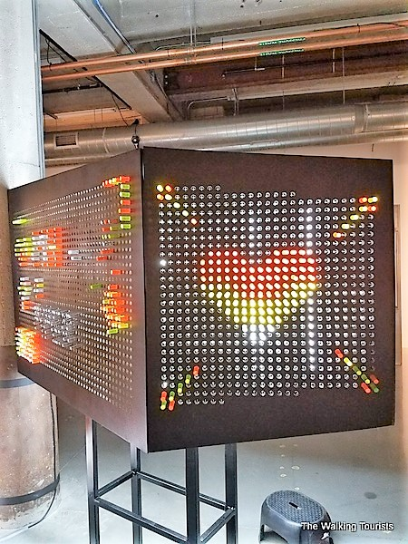 A heart is designed on a large light brite board