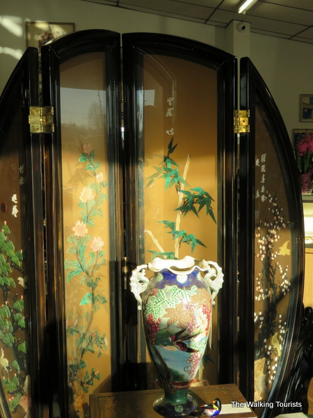 The Japanese wardrobe was hand decorated by a family as a gift to an American businessman.
