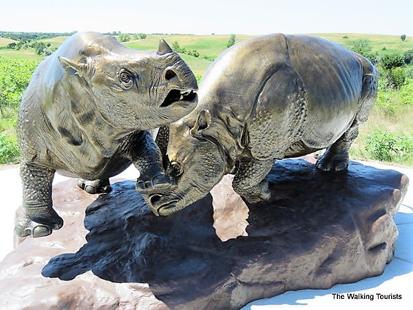 Rhino sculptures looking like they are fighting