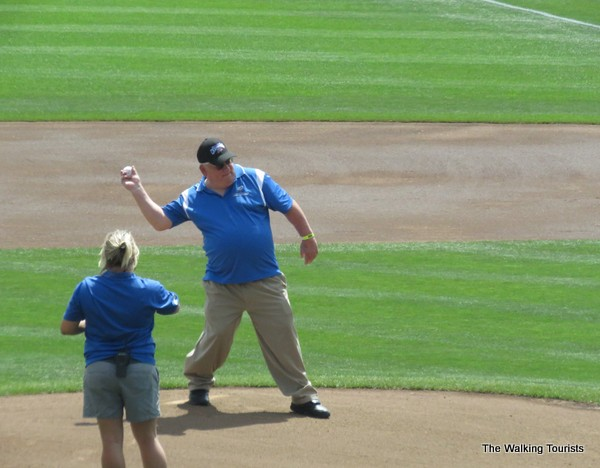 Mike Wachdorf throws out the first pitch for his birthday during a previous season.