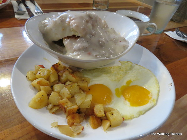 Biscuits and gravy, with country potatoes and cage-free eggs.
