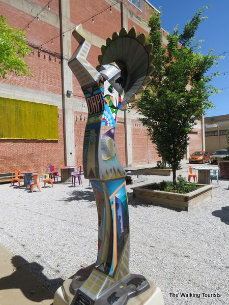 A Keeper on Parade statue at a pop-up park on Douglas Avenue.