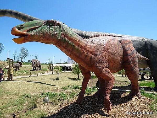 The Edmontosaurus has fossils on display at Wichita's World of Treasures museum.