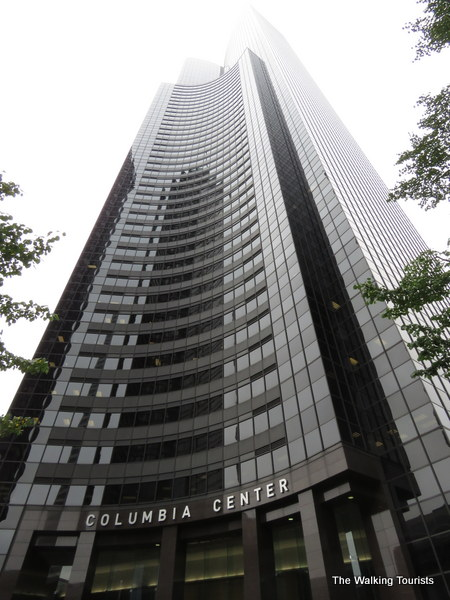 Looking up, you can barely see the top of the Columbia Center on a cloudy day,