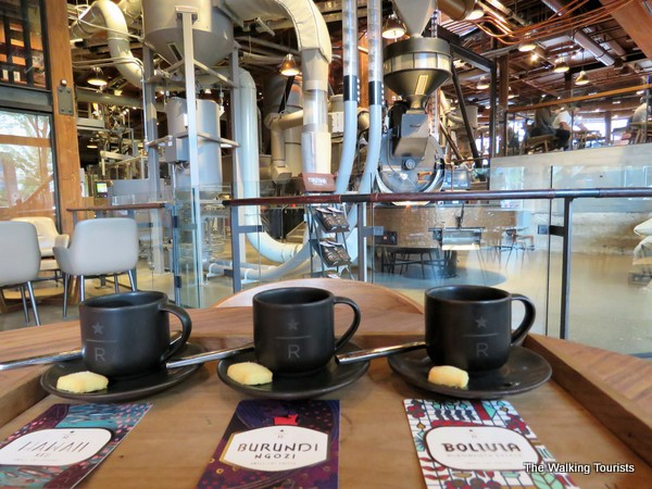 Sampling a flight of 3 espresso coffees at the Starbucks Reserve Roastery and Tasting Room.
