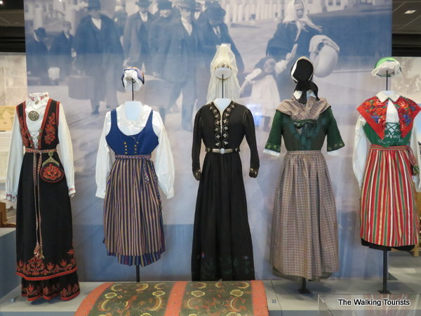 Traditional folk costumes worn from each of the five Scandinavian countries.