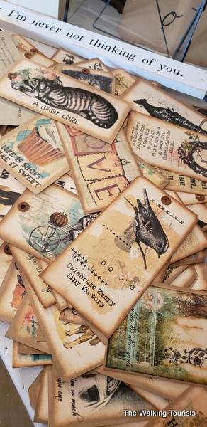 Vintage post cards on display.