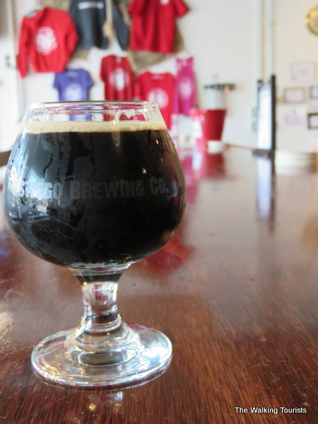 One of the nine beers Oswego Brewing Company creates at its 15-gallon brewery.